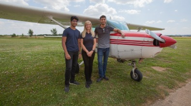 Gill McNeil (instructor) and Student brothers at  Enstone Flying Club